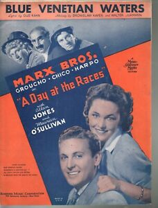 Blue Venetian Waters 1937 The Marx Brothers in A Day At The Races Sheet Music