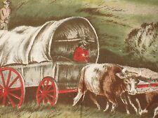 VTG NOVELTY SCENIC OREGON TRAIL WAGON TRAIN COTTON BORDER PRINT FABRIC COVER