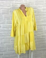 Italy Hippie Boho Hängerchen Tunika Kleid Azteken Muster Gr. 42 44 Gelb K644
