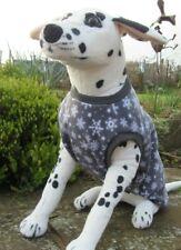 "Large Polar Fleece Dog Coat/Jumper/vest. 20"" L, 25"" W, 18"" Neck Grey Snowflake"