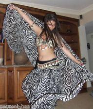VEIL - BLACK WHITE ZEBRA ANIMAL PRINT 45x108 Made India BELLY DANCE, BEACH WEAR