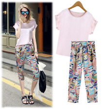 Pink Short Sleeves Top and Owl Printed Harem Pants Suit