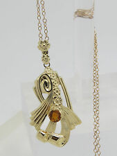 Solid 10k Yellow Gold Round Orange Citrine Scroll Flower Pendant Necklace 18.5""