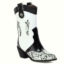 Women's Western Snakeskin Pattern Pointy Toe Thick Heel Ankle Boots 44/45/46 L