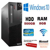 FAST LENOVO M92p COMPUTER DESKTOP PC INTEL i5 3470 @ 3.20 WIFI 8GB RAM 500GB HDD