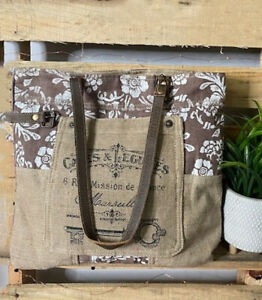 Myra Bags Womens Vintage Look Old Key Upcycled Linen Tote Bag