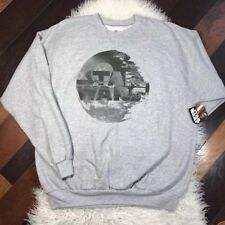 STAR WARS Hanes Mens sz XL Gray Graphic Crew-neck Sweat shirt Fleece Sweater NWT