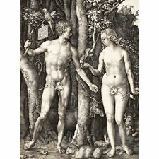 Durer Adam Eve Engraving Reproduction Biblical Painting Extra Large Art Poster