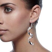 Color Fashion Long Women Jewelry Hook Twist Spiral Dangle Ear Drop Earrings
