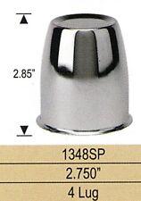 4 WHEEL WHEELS CENTER CAPS PUSH THROUGH 2.75 INCH BORE 4 LUG CHROME METAL 1348S