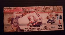 Oilers Edmonton vs Montreal Canadiens Ticket March 14 1990 Montreal Forum