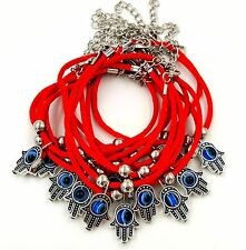 12 Red String Evil Eye Protection Bracelets with Lucky Hamsa Hand Charm