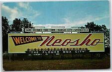 "Greetings from Nesho, Missouri ""The Flower Box City"" Chrome Postcard Unused"
