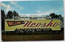 "Greetings from Nesho, Missouri ""The Flower Box City"" Chrome Postcard Unused"
