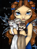 Jasmine Becket-Griffith art print SIGNED Armful of Ferrets fairy angel big eye