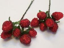 24 NEW Red Beaded RASPBERRY Berry PICK Faux Fake Food Stage Prop Floral Decor
