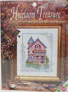"New in Pkg!  Heirloom Treasure Victorian House Cross Stitch Kit 8"" x 10"""