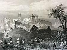 Athène l'Acropole Grèce impression Gilquin et Dupain circa 1859 ELLÀS