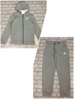 NIKE BOYS CORE FLEECE GREY FULL ZIP HOODED TRACK SUIT TOP JOGGERS RRP £48 AD