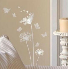 DANDELIONS & BUTTERFLIES wall stickers 13 silver decals room decor bedroom
