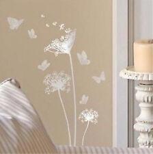 DANDELIONS & BUTTERFLIES wall stickers 13 silver decals room decor bedroom