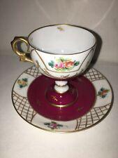 New ListingLimoges Eg Frances Tea Cup Saucer Gold Maroon Flower Design Hand Painted Vintage