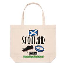 Rugby Scotland Large Beach Tote Bag - Funny League Union Flag Shopper Shoulder