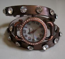 Bronze/Rose Gold Wrap Around Bling Sparkly Rhinestones Fashion Women's Watch
