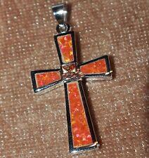 orange fire opal topaz necklace pendant gemstone silver jewelry Christmas Cross