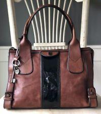 FOSSIL Vintage Reissue Whiskey Brown Leather w/ Black Satchel Shoulder Handbag