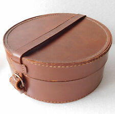 Sturdy leather collar box Very good condition vintage luggage officers nurses
