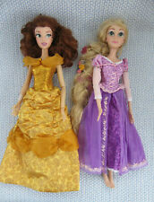 2 Disney Princess Dolls 16 inch Belle & Rapunzel 2016 that used to Sing Light Up