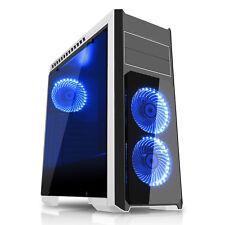 CIT Flash Midi Tower PC Bianco Blu eSPORTS gioco in vetro temperato CASE USB 3.0