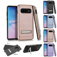 FOR SAMSUNG GALAXY S10 2019 METALLIC BRUSHED STAND CASE IMPACT COVER+STYLUS