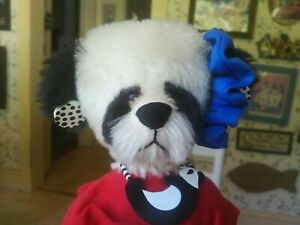 Ltd. Ed. mohair Artist Teddy Bear panda, Diane Gard, Bears with a Heart 20in EUC