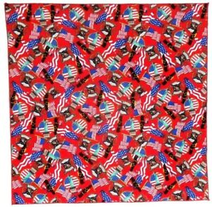 """Bandanna with Flags & Firemen on Red 100% Cotton #85-2 Handmade 21""""X21"""""""