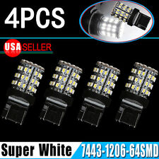 4x Pure White T20/7443/7440/992 64smd Tail Brake Backup Reverse LED Light Bulbs