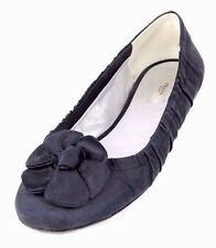 PRADA Black Ruched Silk Crepe Knotted Flower Ballet Flats 39.5