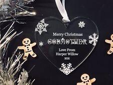 Personalised Merry Christmas Godmother Christmas Tree Decoration