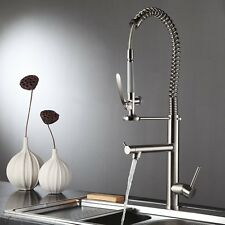 FLG Commercial Kitchen Sink Faucet Pull Down Pre-rinse Spring Spray Swivel Spout