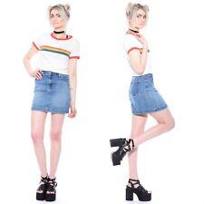 Vtg 90s GAP Light Blue Denim Grunge Club-Kid Schoolgirl Rave Jean Mini Skirt M