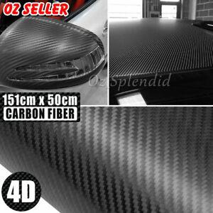 50cm x1.51M 4D Gloss Black Carbon Fibre Fiber Vinyl Car Wrap Air Release Film A