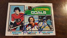 1976-77 OPC GOALS LEADERS CARD SIGNED BY REGGIE LEACH GUY LAFLEUR LAROUCHE # 1