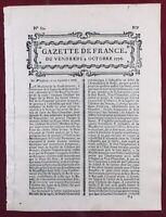 Varsovie en 1776 Pologne George Washington Indépendance USA Malaga Paris Gazette