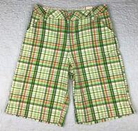 NEW Girls Sz 16 Regular Arizona Jeans Co Bermuda Shorts Green Plaid