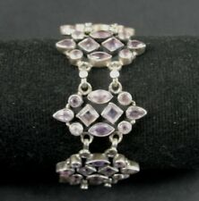 Amethyst Purple Stones Sterling Silver 925 Link BRACELET 8 Inch Long