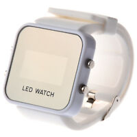 White Mirror Jelly Stylish Sports Unisex LED Digital Watch Gift for Men Wom U5D1