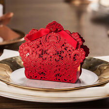 30PCS Rose Laser Cut Hollow Candy Box Wedding Party Favors Gift Bags with Ribbon