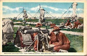 Postcard Machine Gun In Action Fort Sam Houston in San Antonio, Texas~804