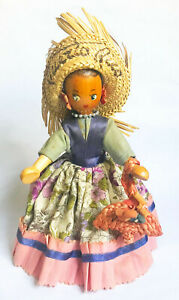 Vintage Wood/Cloth/Straw, Puerto Rican Girl. Intricately crafted, party dress